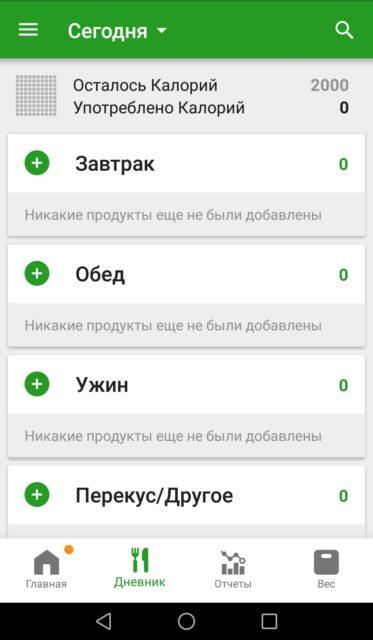 FatSecret - мобильная версия